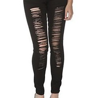 LOVEsick Black Deconstructed Skinny Jeans - 795630