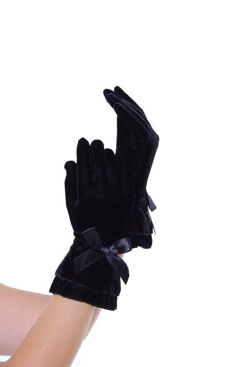 Black Velvet Stretch Gloves With Satin Bow - Unique Vintage - Bridesmaid &amp; Wedding Dresses