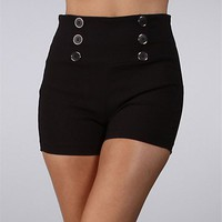Black High Waisted Button Shorts
