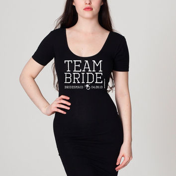 Team Bride - Little Black Dress - Personalized - Cotton Spandex Jersey Dress - FREE SHIPPING