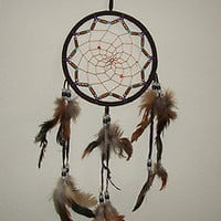 Large Handmade Dreamcatcher Dark brown, Beige, Red, White with Beads