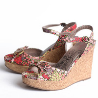 sometime in spring brown floral wedges - $43.99 : ShopRuche.com, Vintage Inspired Clothing, Affordable Clothes, Eco friendly Fashion
