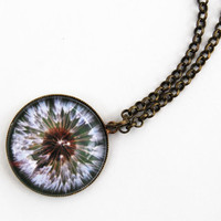 Dandelion Pendant - macro photography - antique bronze necklace - wearable art