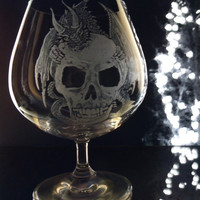 Dragon and skull brandy glass , engraved glassware for display of use  , one of a kind gift