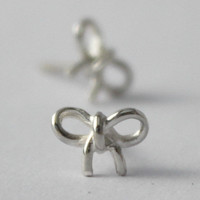 Tiny Bow Earrings , 925 Sterling silver, Petit Earrings