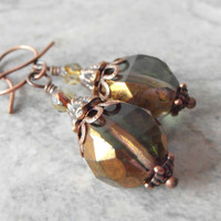 Olive Green Dangle Earrings Rustic Glass Bead Earrings in Antiqued Copper Vintage Style Handmade Jewelry Beaded Dangles