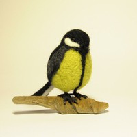 Handmade felted wool bird titmouse