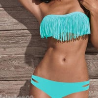 Hot Sexy Girl Lady Beach Fringed Padded Tassel Bikini Swimwear Swimsuit Ice Blue