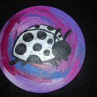 Silver and Black Lady Bug Original Kids Painting, Circular canvas abstract lady bug art