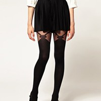 Gipsy Mock Bow Suspender Tights at asos.com