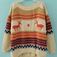 Elk Embroidered Sweater Beige  S003276