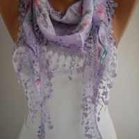 Lilac Floral Shawl Scarf - Headband -with Lace Edge - Summer Trends