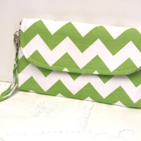 Christmas gift for her green chevron clutch with detachable wristlet strap