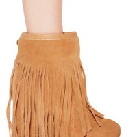 koolaburra Veleta Suede Wedge Ankle Boot with Fringe in 2 Colors