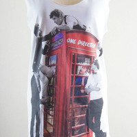 One Direction Shirt -- One Direction T-Shirt 1D Shirt Boy Band Shirt Women T-Shirt Tank Top Vest Women Top Sleeveless White Shirt Size M