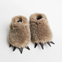 Baby Bear Slippers Fuzzy Mocha with Dark Claws by babycricket