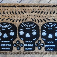 3 skulls Mexican Papel Picado Day of the Dead doormat. Dia de las Muertos | Damn Good Doormats