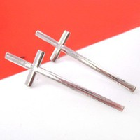 Long Thin Cross Shaped Stud Earrings in Silver