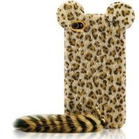 iPhone 4S-4G Leopard Plush Tail Protective Back Cover - Apple iPhone Cases - Phone Cases Rhinestones iPhone 5 4S 3GS Cases, Couple Necklaces / Wedding Rings & Uncommon Gift Ideas - Worldwide Shipping