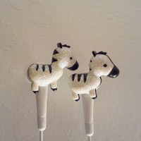 So Cute  White Glitter Zebra earbuds