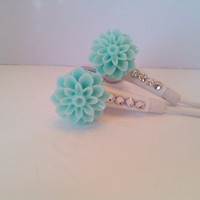So Pretty Seafoam Green Dahlia Flower Earbuds With Swarovski Crystals