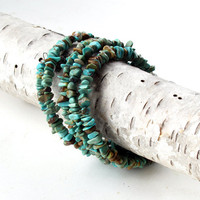 Turquoise wrap bracelet, stone bangle stack