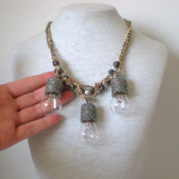 Steampunk Statement Necklace Boho Chic Beadwork