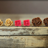 Flower Earring Studs Trio: Chai Rose, Raspberry Sakura Blossom, Chocolate Scrunch Rose