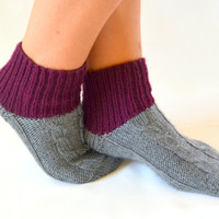 knitted socks - hand knitted grey socks boot socks slippers girl acessories women socks gift for her birthday gift chunky socks