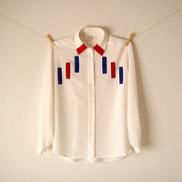 Vintage. 80's White Retro Oversized Shirt. Red and Blue Velvet Patches. Tunic. Button Up. Collar. Long Sleeves. Indie. Hipster. XS S M L