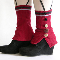 leg warmers shoe covers spats recycled wool red eco friendly recycled upcycled wool women for her curationnation