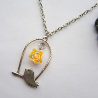 Bird necklace---antique silver cage bird and orange rein flower&alloy chain