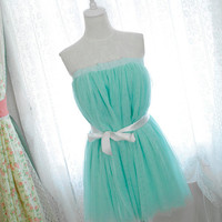 Alice in wonderland fairytale ballerina style mint green tutu tulle puff skirt /dress 2 way