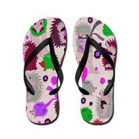 Hedgehog Meadow Flip Flops on CafePress.com