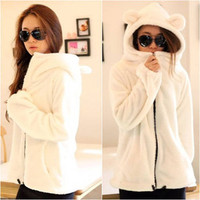 Women&#x27;s Long Sleeve Solid Color White Zip Down Jacket Coats Sweater Hoodie #736