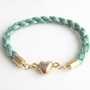 Christmas Green Friendship Heart Cord Bracelet