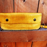 vintage leather mustard yellow truckers wallet with chain. motorcycle wallet. money bag. gift for men