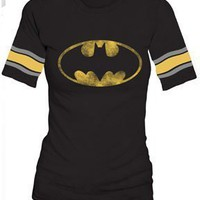 Amazon.com: Batman Distressed Logo Black Raglan Hockey Juniors T-Shirt Tee: Clothing