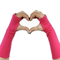 Pink Fingerless Gloves Hibiscus Hot Pink Warmers Wrist