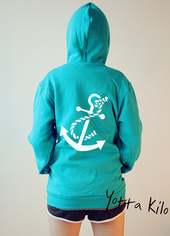 Unisex American Apparel Hoodies - Anchor - Neon Blue