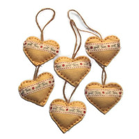 Nordic style hand stitched felt heart Christmas decorations - set of 6