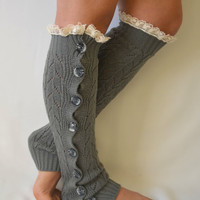 Leg warmers- grey slouchy open button down lace leg warmers knit lace leg warmers boot socks christmas gifts