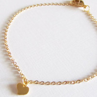 Sale 10% - Gold Heart Bracelet, 16kt Gold Plated Bracelet, Gift for Her, Item B-84G