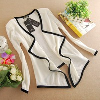 Hot Fashion White Womens Korean Style Slim Long Sleeve Cardigan Sweater