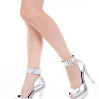 Silver Metallics Faux Leather Strapy Buckle Peep Toe Sexy Heels @ Amiclubwear Heel Shoes online store sales:Stiletto Heel Shoes,High Heel Pumps,Womens High Heel Shoes,Prom Shoes,Summer Shoes,Spring Shoes,Spool Heel,Womens Dress Shoes,Prom Heels,Prom Pumps