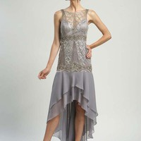 Platinum Beaded Chiffon Drop Waist Hi-Lo Prom Dress - Unique Vintage - Homecoming Dresses, Pinup & Prom Dresses.