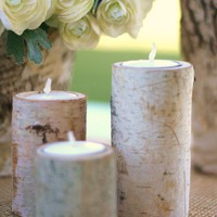 Birch Bark Candle Holders Rustic Home Decor