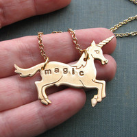 magic unicorn necklace - personalized hand stamped vintage brass LAST ONE