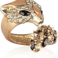Roberto Cavalli|Gold-plated Swarovski crystal fox ring|NET-A-PORTER.COM