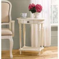 Antique White Wood Finish Oval Side Table- Country Living-For the Home-Accent-Tables